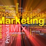 Marketing mix background concept glowing