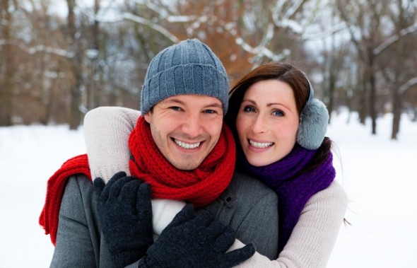 Couple in cold weather