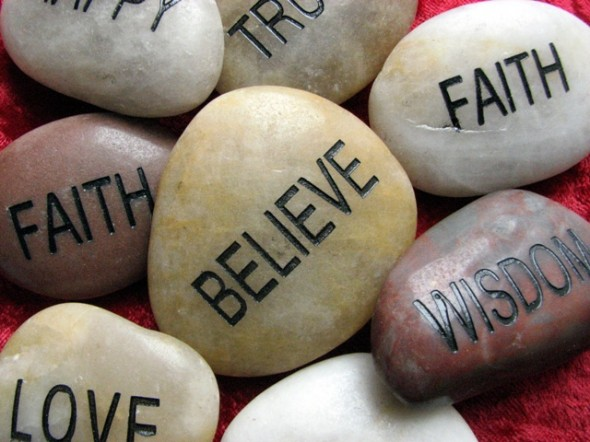 Shiny rocks with spiritual words embedded