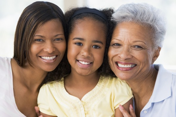 Older black woman with daughter and granddaughter