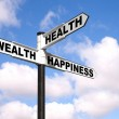 Health Wealth Happiness sign post