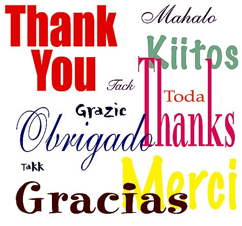 Thank you message in several languages