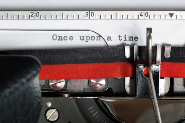Old typewriter with typewritten words 'Once Upon a Time'