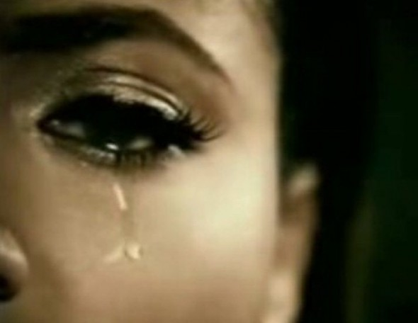 African American Woman Crying Tears