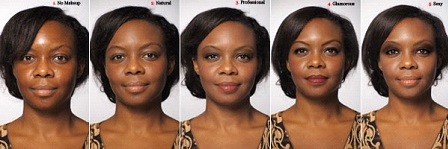african american woman with various stages of makeup