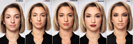 woman with various stages of makeup