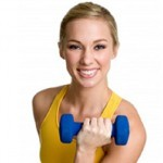 Woman exercising and smiling