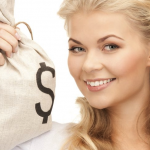 Woman holding money bag.png